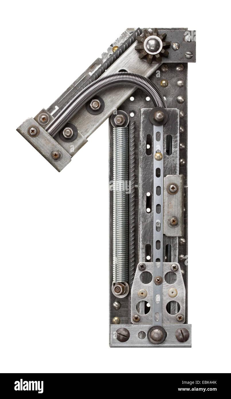 Alfabeto de metal industrial número 1 Imagen De Stock
