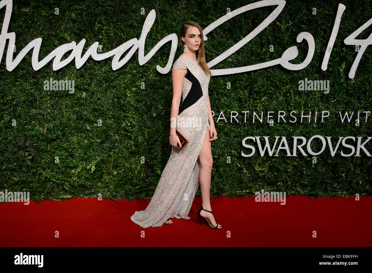 Cara Delevingne en el British Fashion Awards de 2014, en Londres. Imagen De Stock