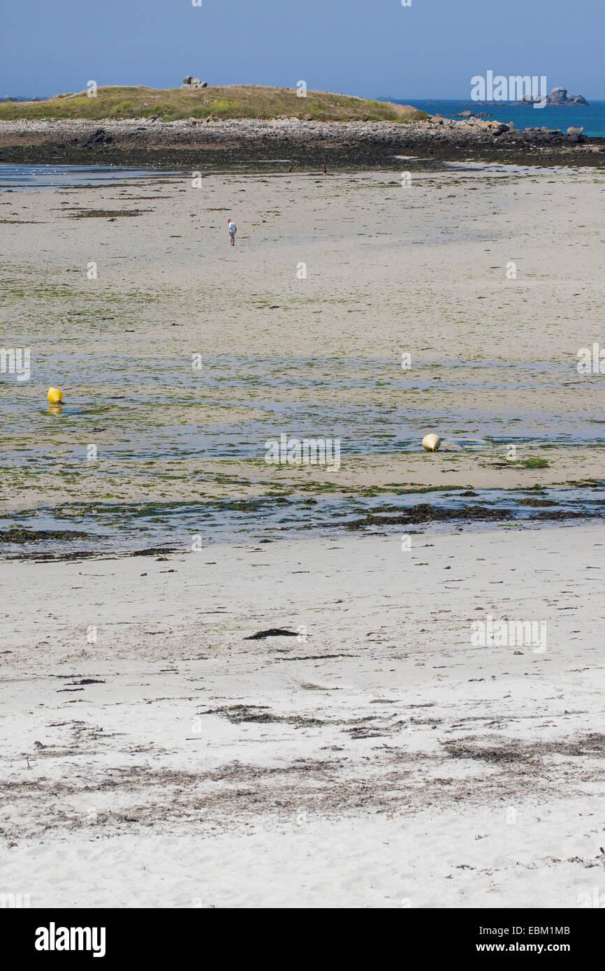 Segmento de playa en marea baja, Francia, Bretaña, Océano Atlántico Foto de stock