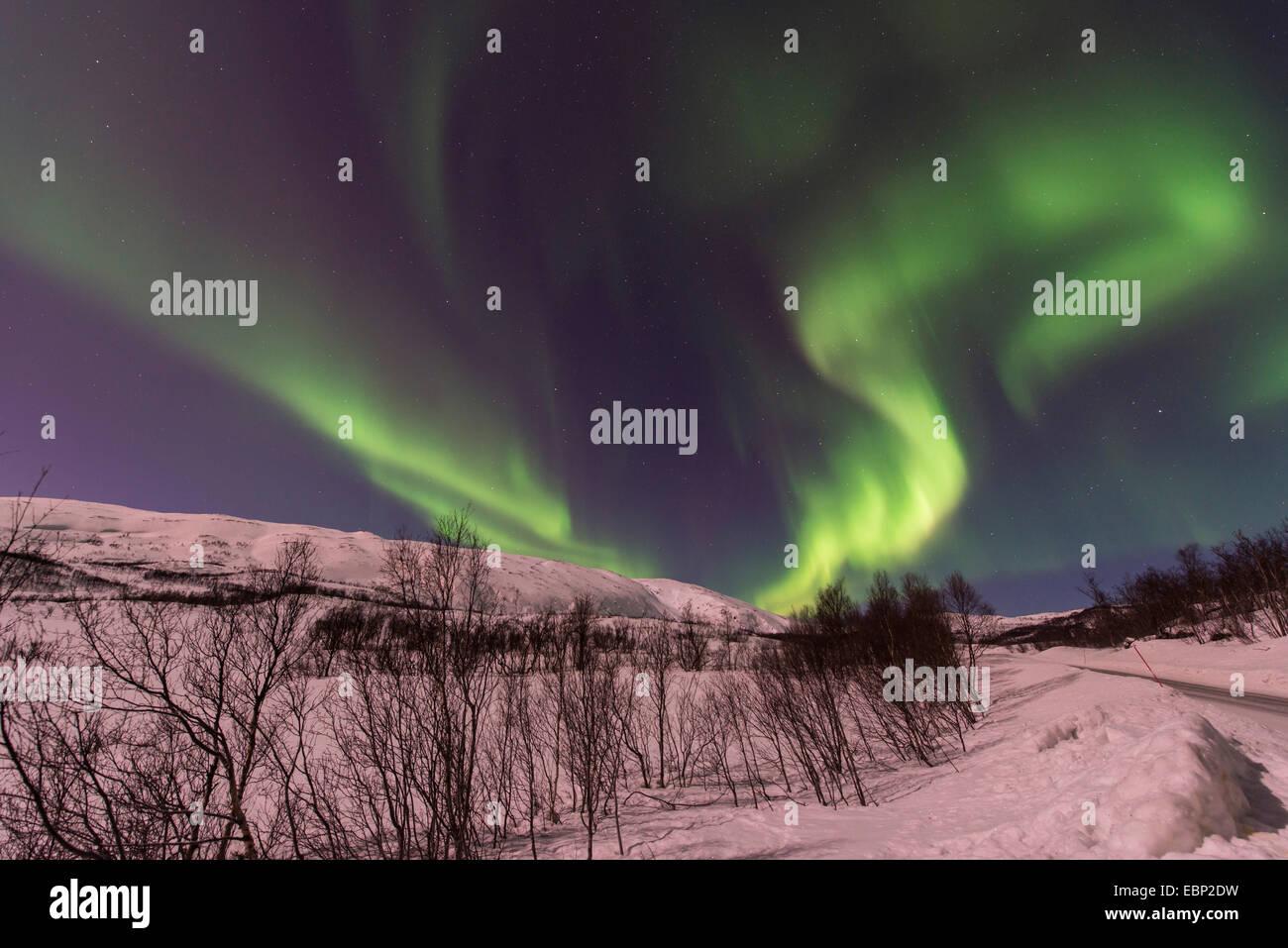 Eddy aurora en paisaje invernal, Noruega Troms, Finnvikdalen Imagen De Stock