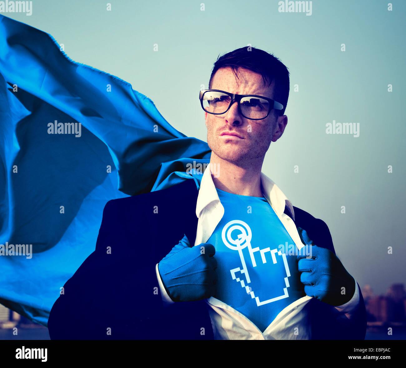 Inicio Fuerte éxito superhéroe potenciación profesional concepto de stock Imagen De Stock