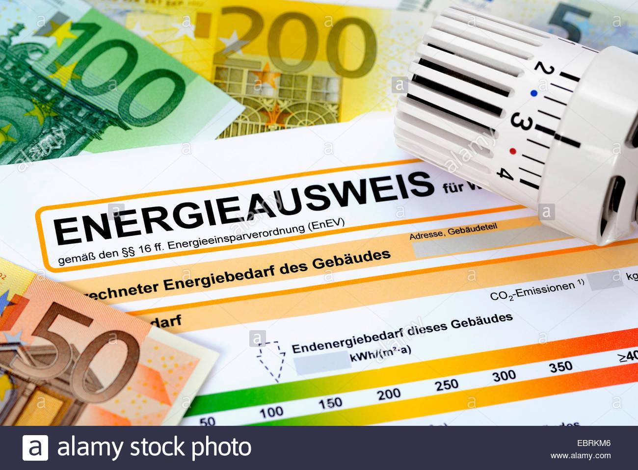 Energía pass, billetes en euros y el termostato, símbolo imagen regulaciones de conservación de energía Imagen De Stock