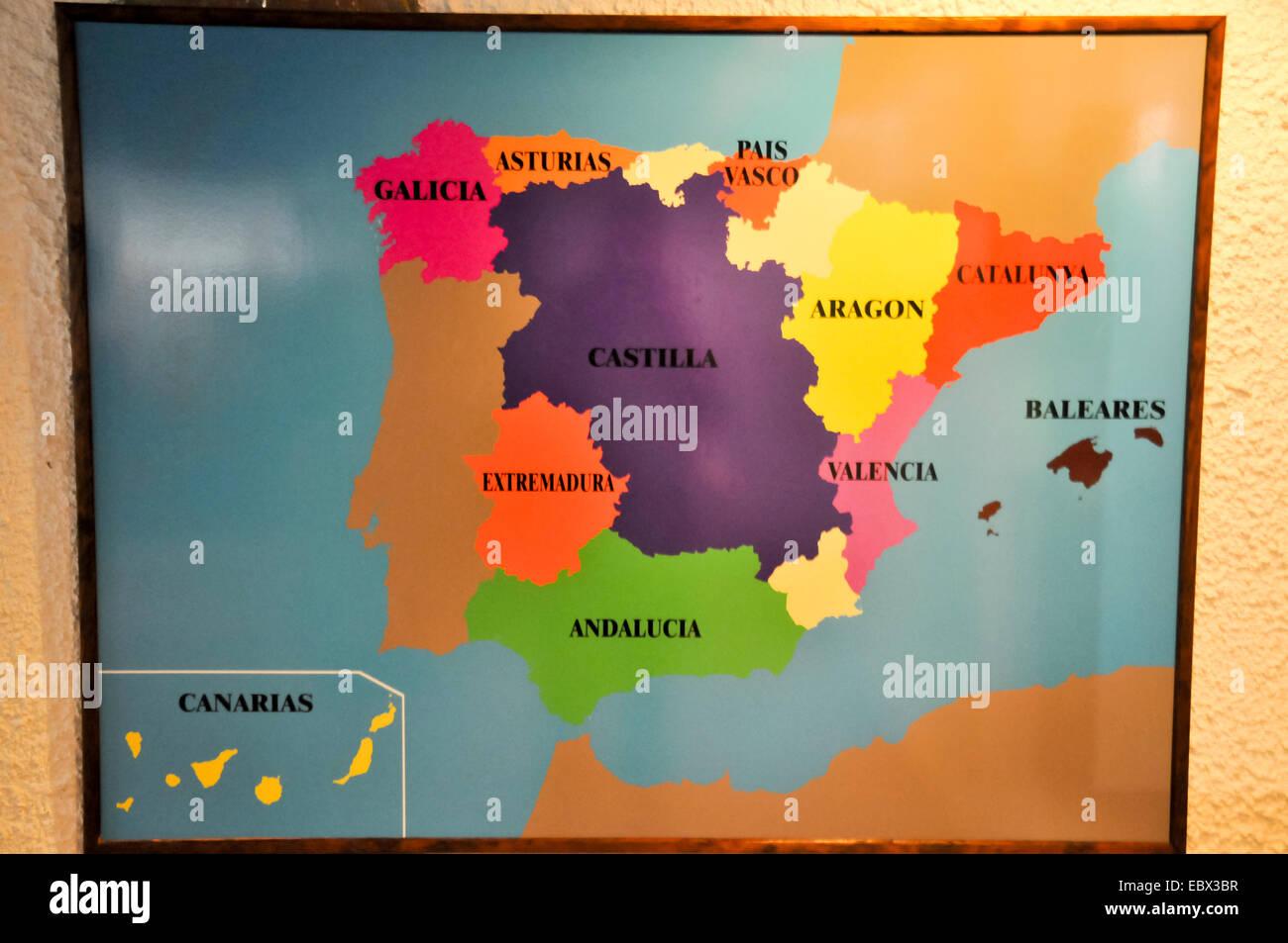 Mapa de la diversidad étnica en España Imagen De Stock