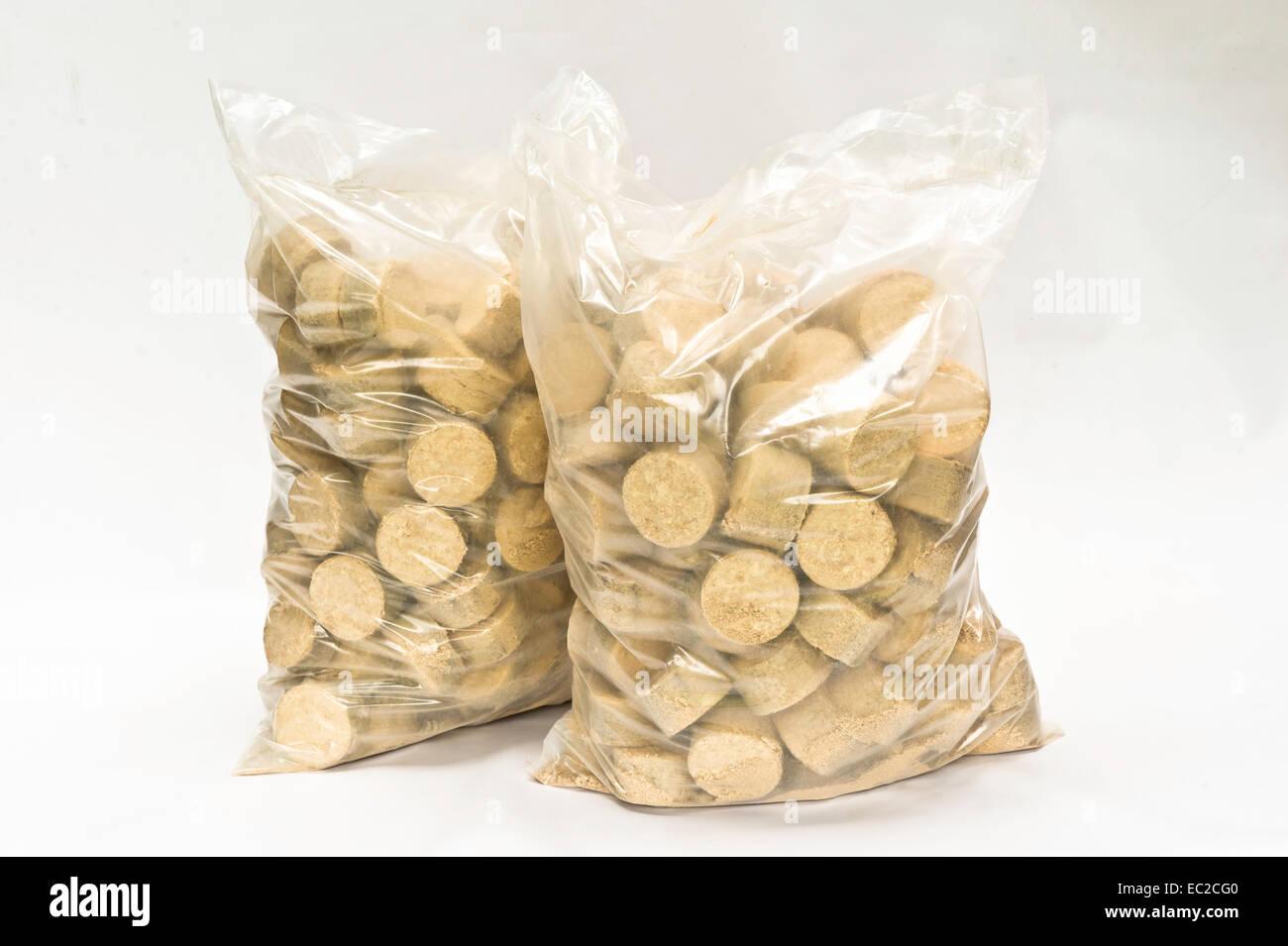 Las briquetas de madera ecológica Imagen De Stock