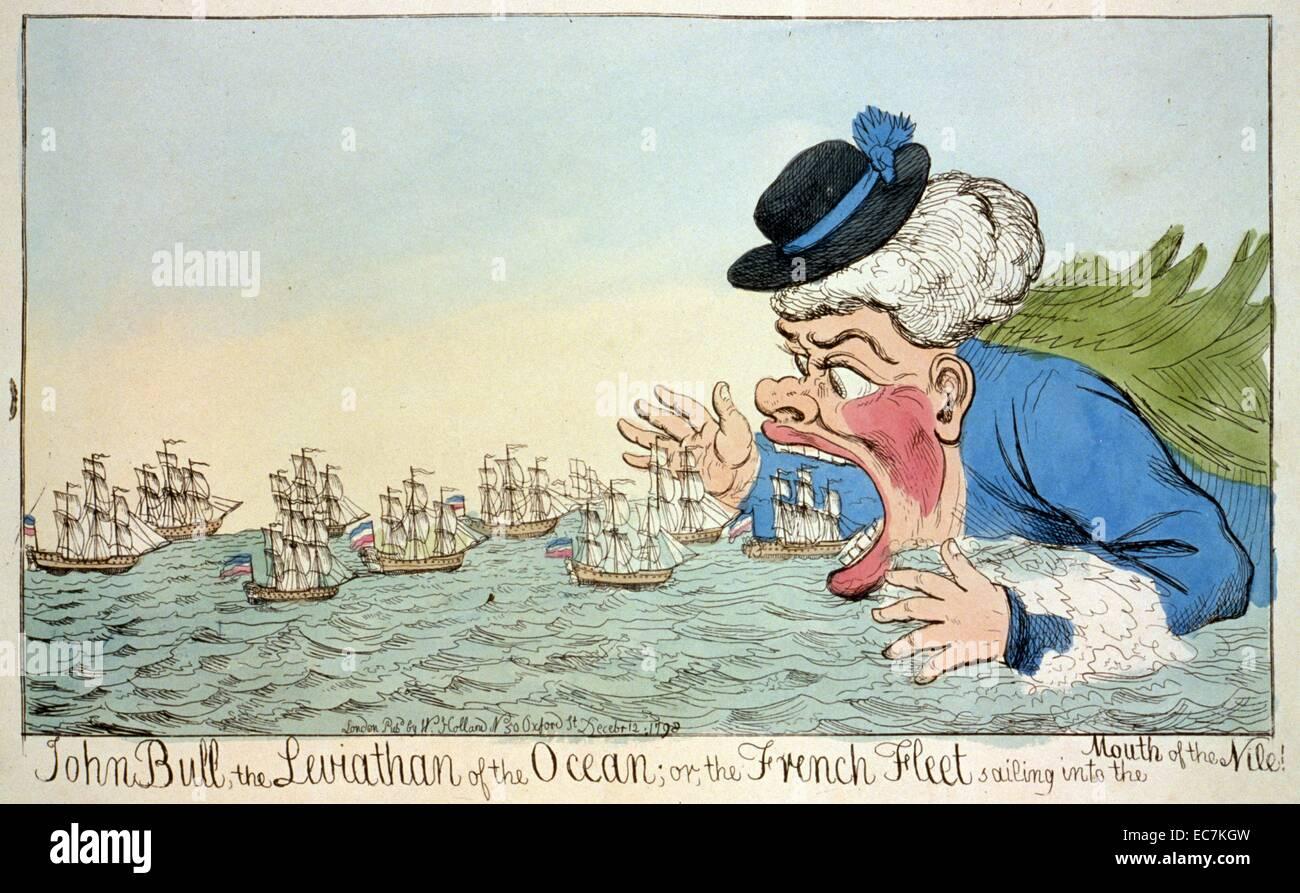 John Bull, el Leviatán del océano o la flota francesa navegando en la boca  del Nilo! Una caricatura que muestra John Bull