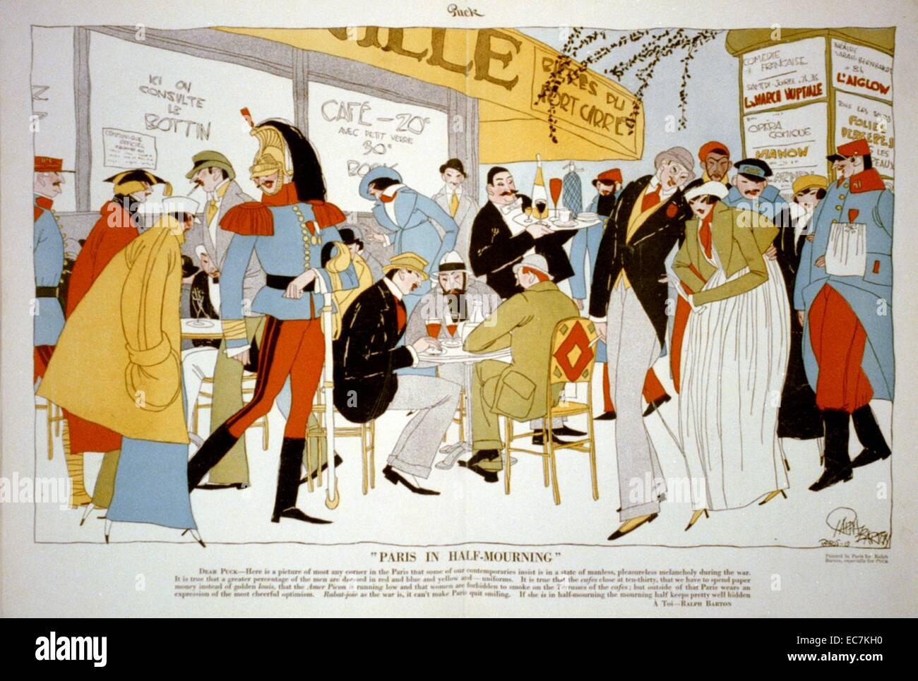 París en medio luto. Caricatura de moda vestidos de moda vestidos de soldados y otras personas en un café al aire Foto de stock