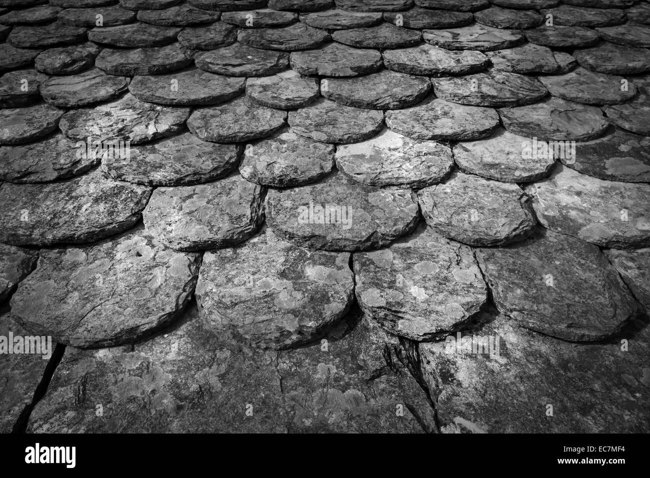 Tradicional techo de esquisto cevennes, Francia. Imagen De Stock