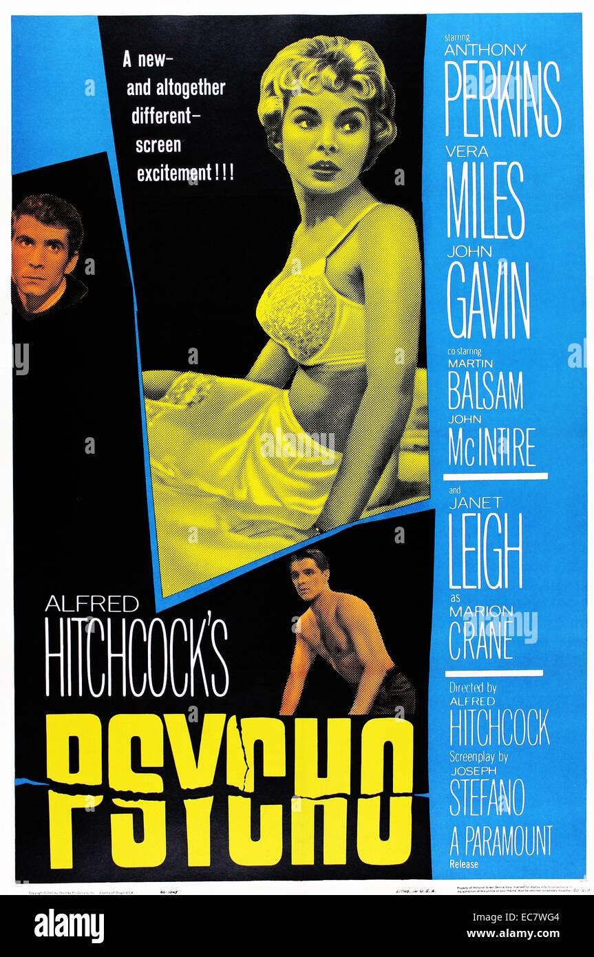 Psico: 1960 American horror-thriller película dirigida por Alfred Hitchcock, protagonizada por Anthony Perkins Imagen De Stock
