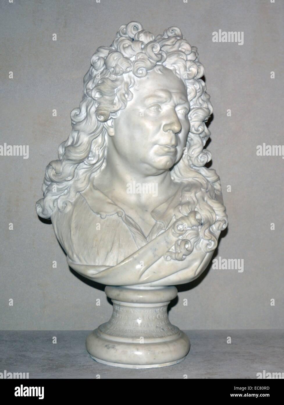 Busto de mármol (en francés) de un estadista del siglo xviii Foto de stock