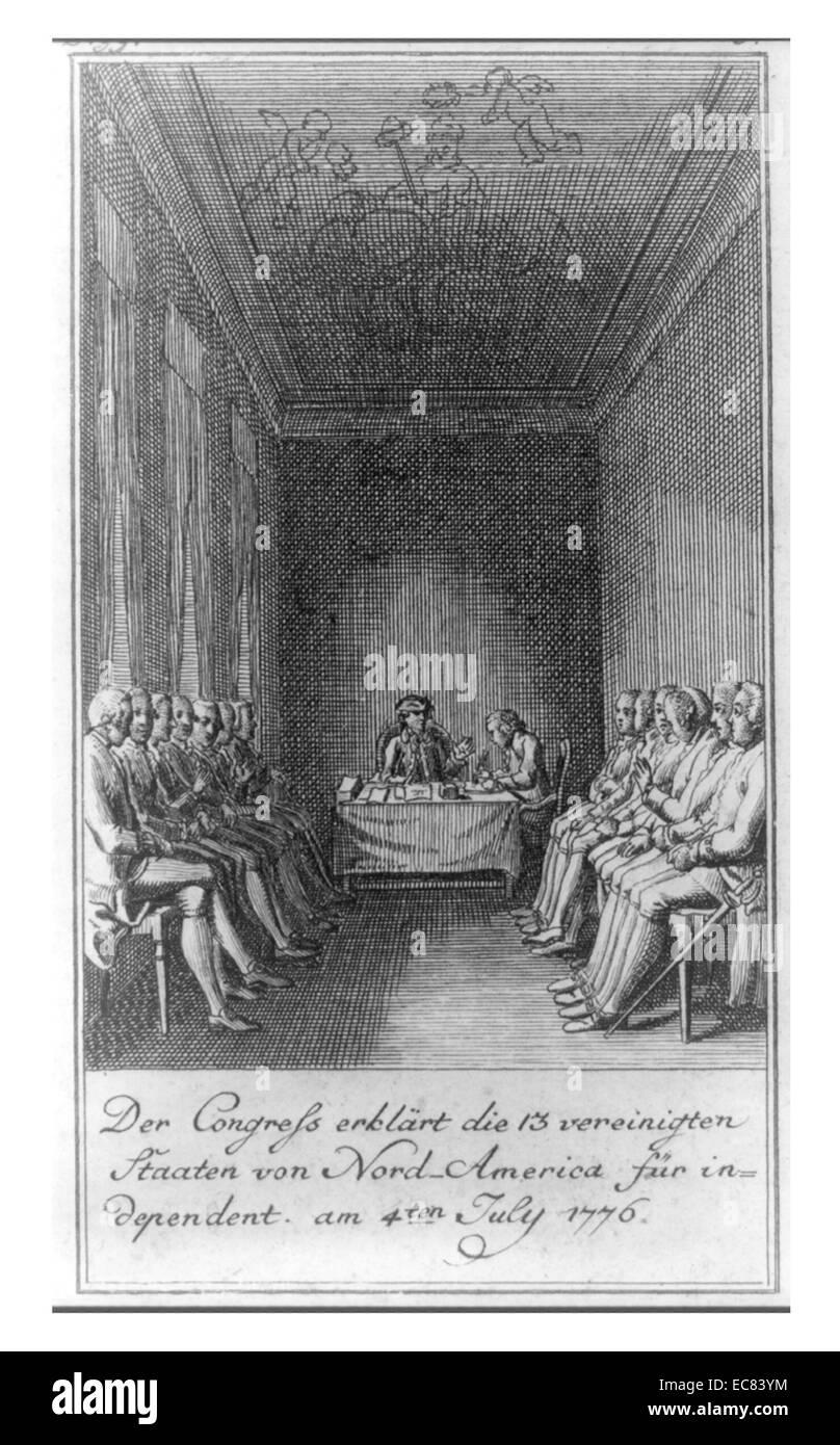 El Congreso declaró que los 13 Estados Unidos de Norteamérica, independiente el 4 de julio de 1776, por Imagen De Stock
