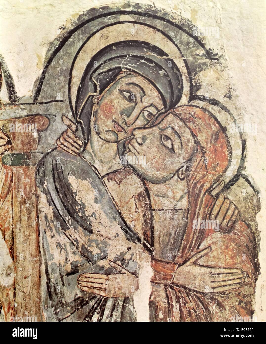 Fragmento de la visitación en Cataluña. Fecha del siglo 13. Imagen De Stock