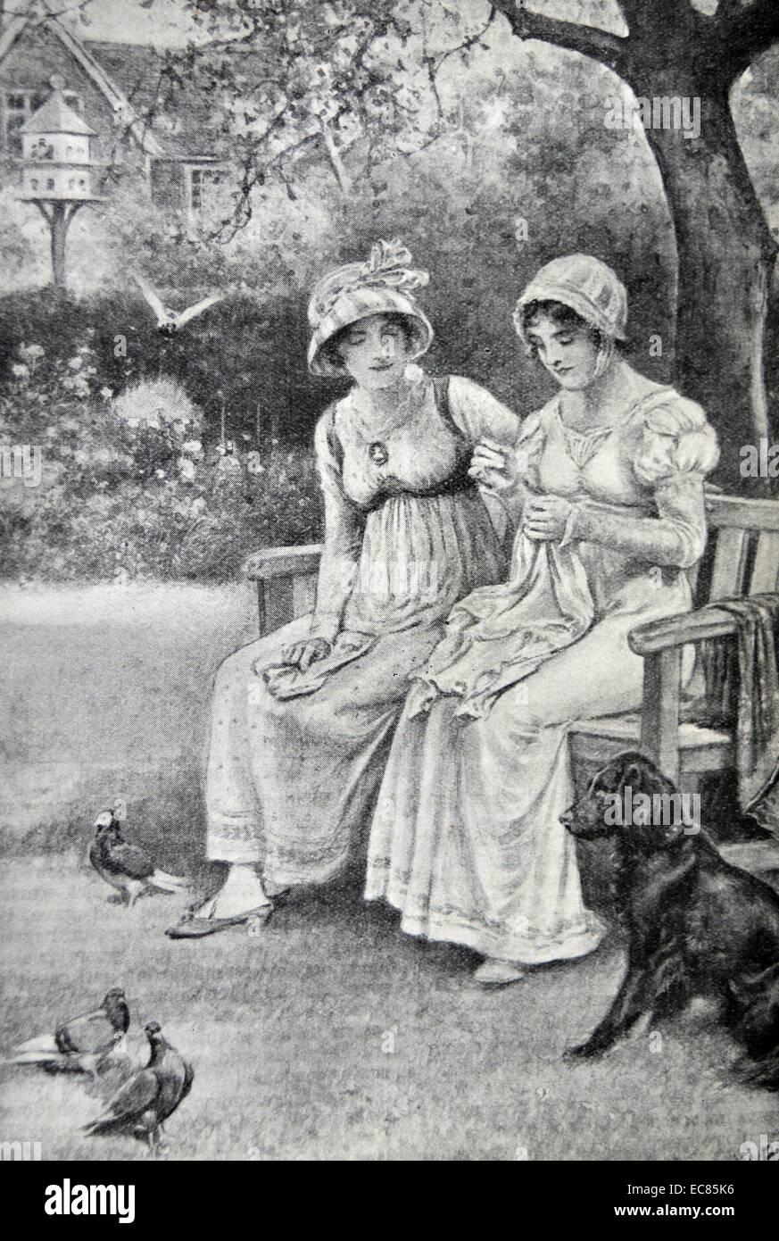 Grabado de Jane Austen y su hermana Cassandra haciendo bordados en la rectoría jardín. Fecha 1810 Imagen De Stock