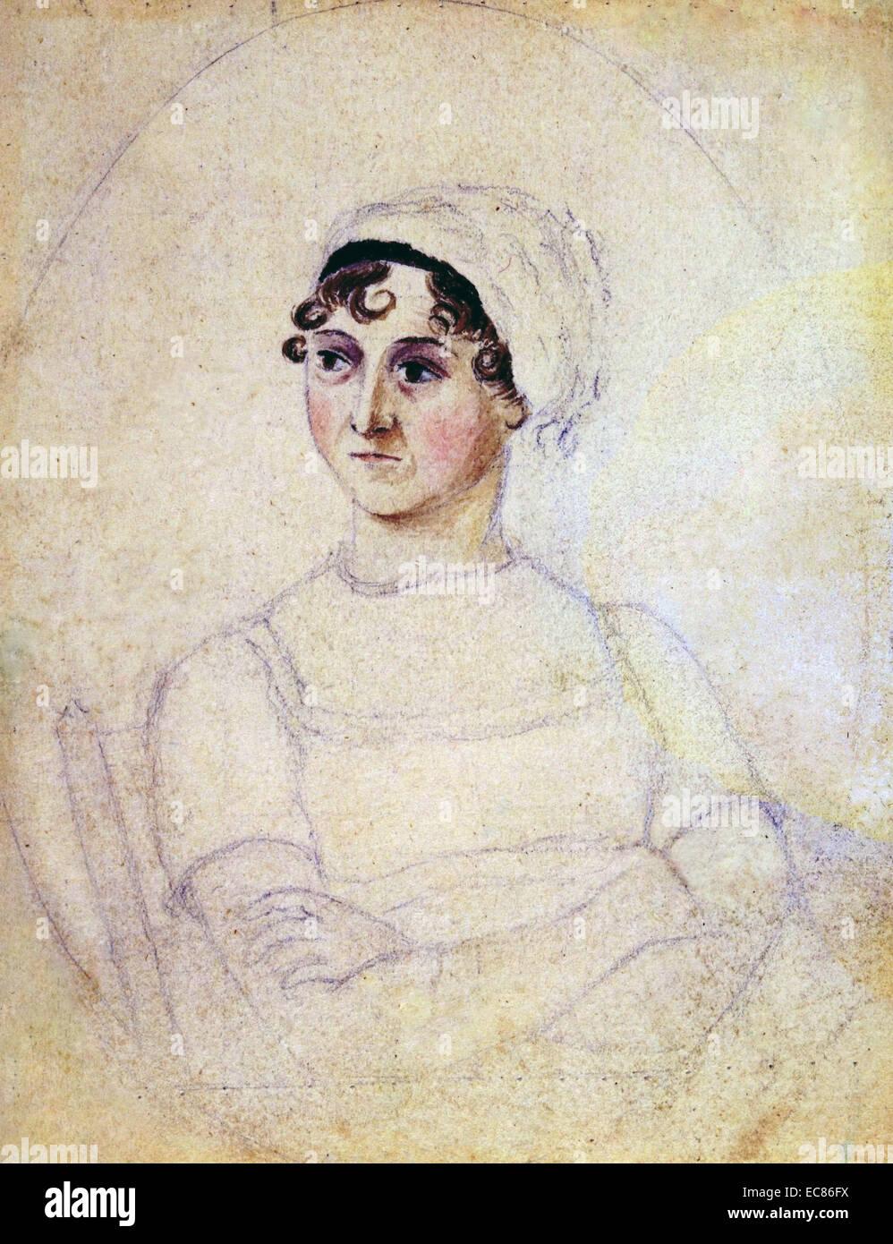 Color retrato de Jane Austen (1775-1817) dibujado por su hermana Cassandra. Fecha 1810 Imagen De Stock