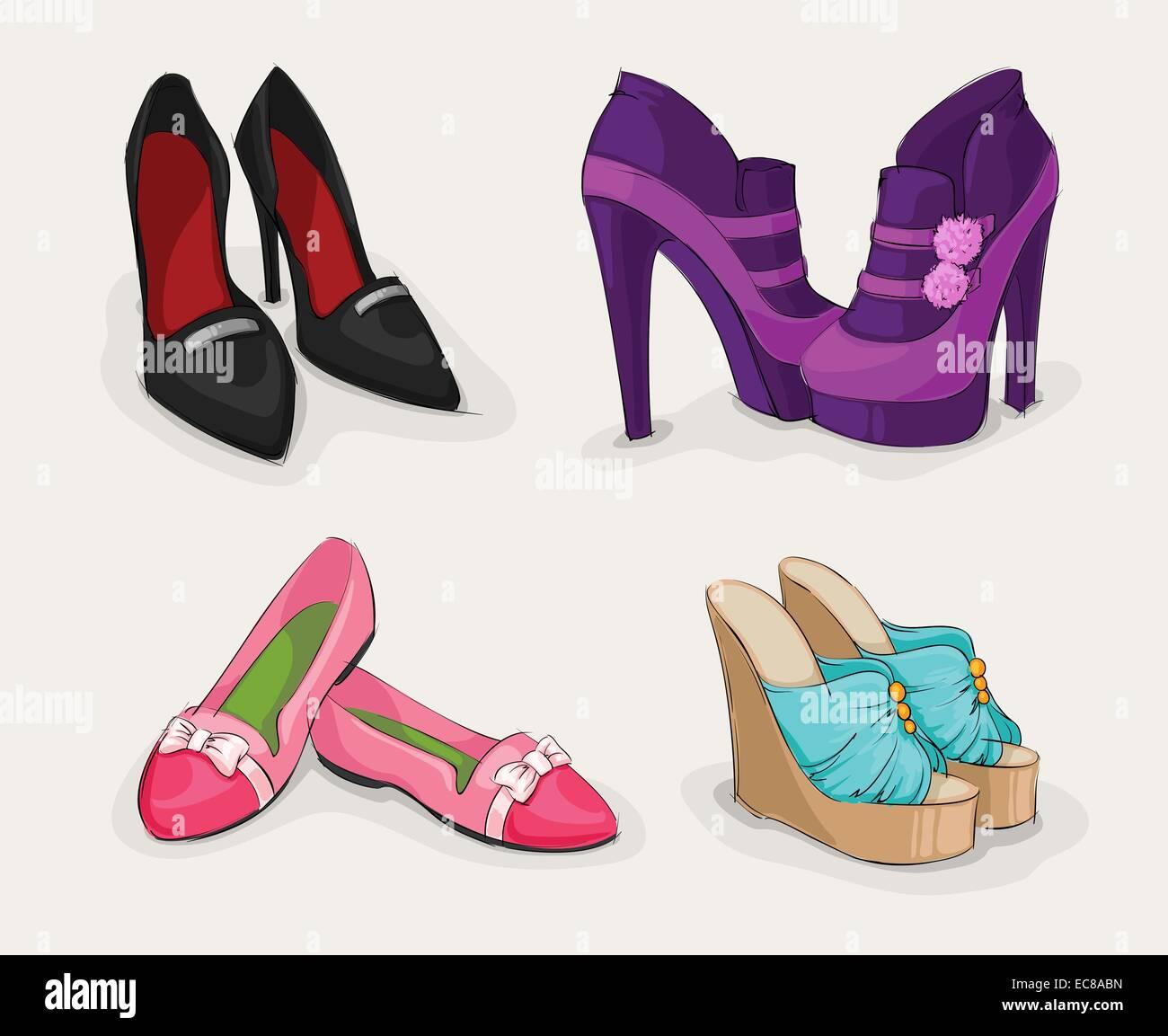 fca76ee8 Colección de moda de mujer clásico negro zapatos de tacones altos botines y  sandalias aislados ilustración vectorial