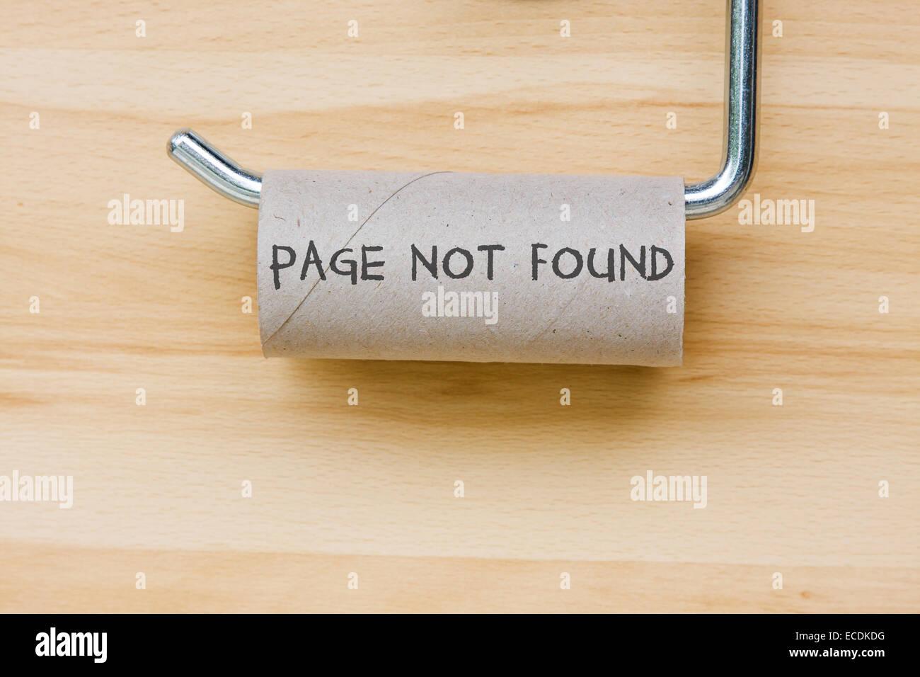 No se encontró la página. Papel higiénico como mensaje web Imagen De Stock