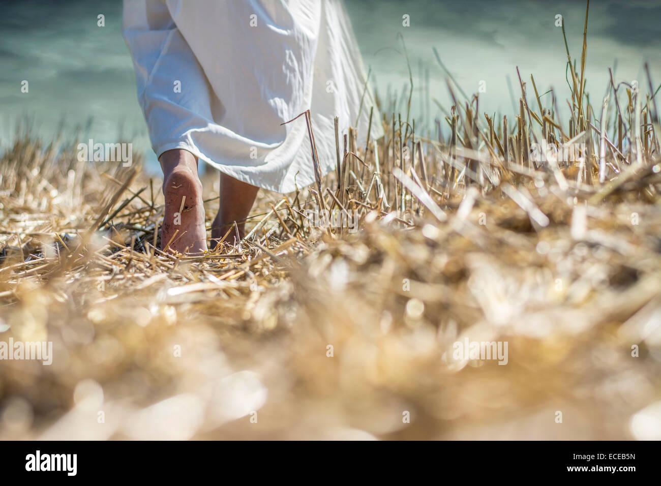 Primer plano de una joven que camina descalzo por un campo Foto de stock