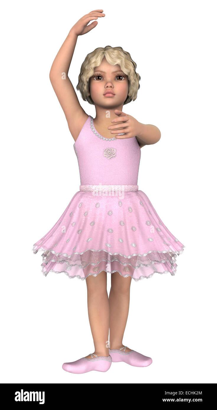 Digital 3D Render de un pequeño y lindo bailarina aislado sobre fondo blanco.  Imagen De 9f102d8d5f9