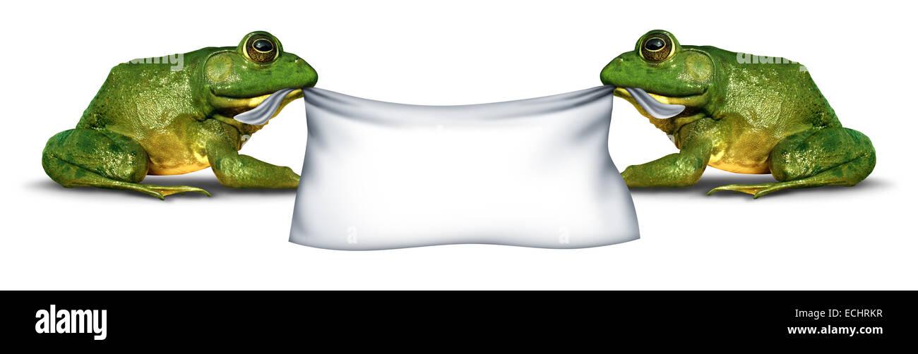 Banner de rana firmar sosteniendo carteles en blanco por dos verdes felices sonriendo hilarante anfibios como un Imagen De Stock