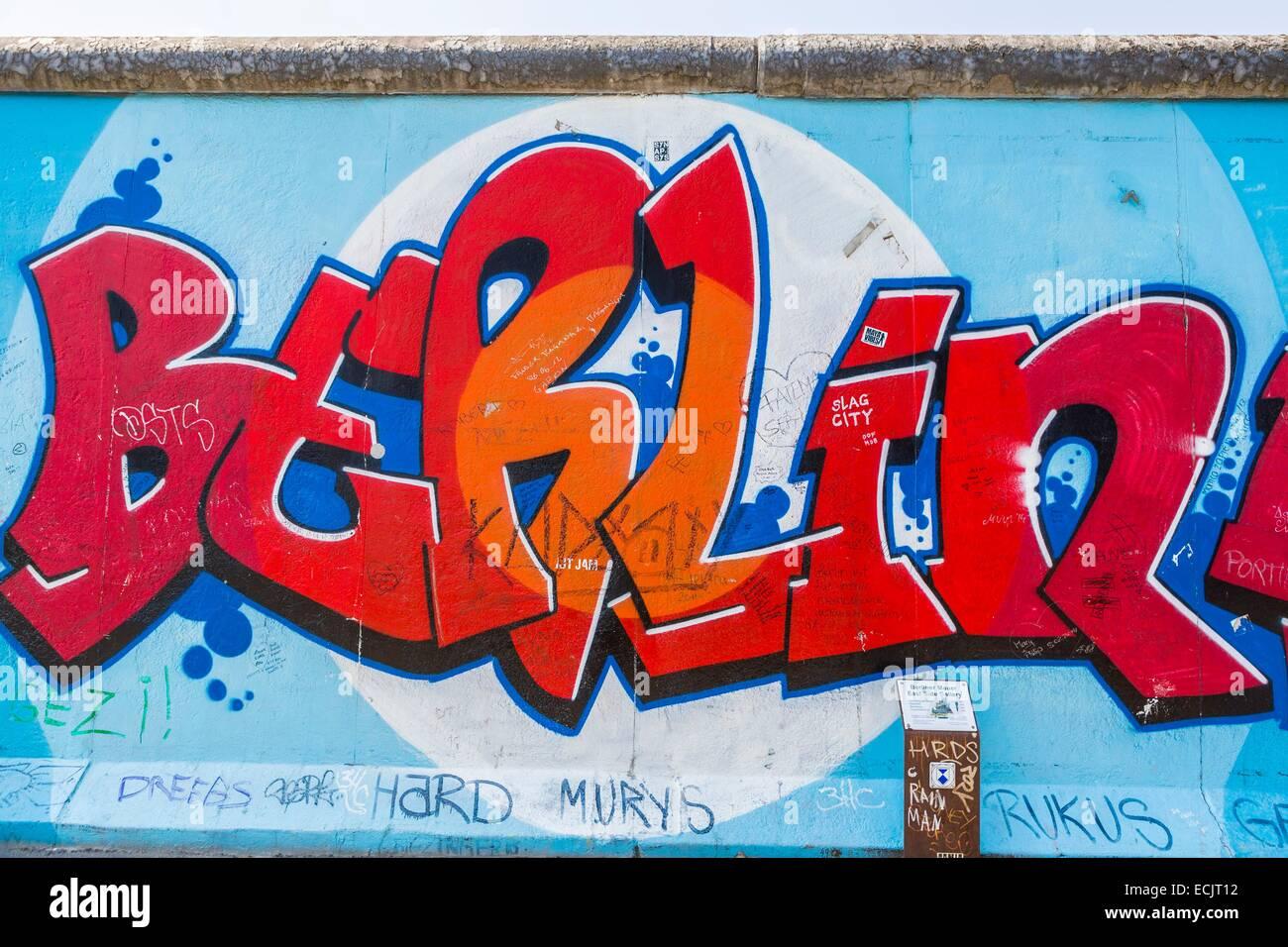 Alemania, Berlín, Berlín Oriental, Friedrichshain, East Side Gallery, los restos de la muralla, pintadas Imagen De Stock