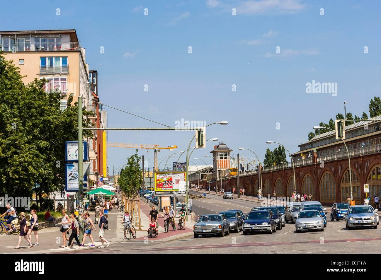 Alemania, Berlín, Berlín Oriental, Friedrichshain, East Side Gallery, Warschauer Strasse Imagen De Stock