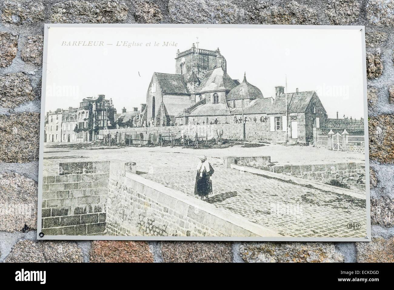 Francia, Manche, Cotentin, Barfleur, etiquetados Les Plus Beaux aldeas de France (Los pueblos más bellos de Francia), archivo de fotos junto al puerto Foto de stock