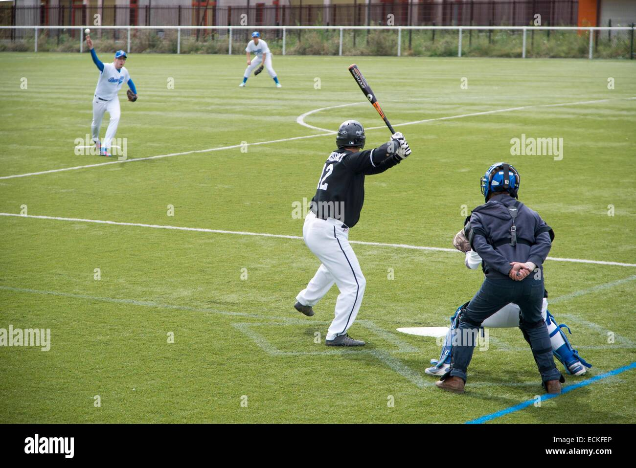 Francia, Seine Saint Denis, Tremblay en France, Tremblay en France, partido de béisbol Imagen De Stock