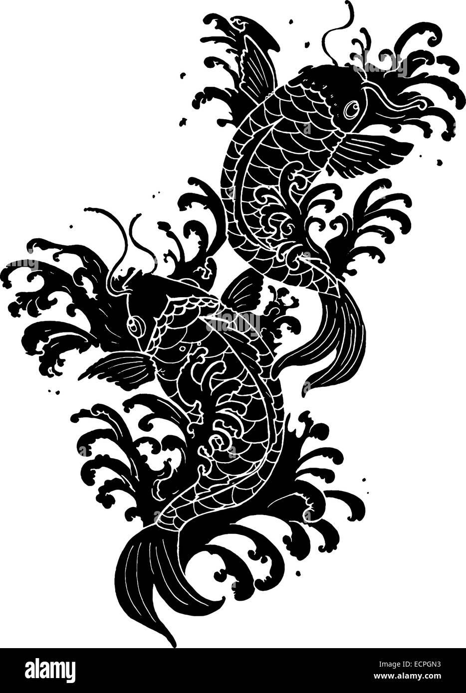 Bocetos De Tatuajes Tradicionales tradicional pez koi tatuaje ilustración en blanco y negro