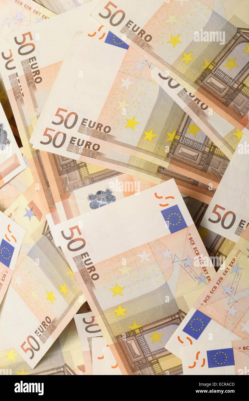 Mucho Dinero Cincuenta Euros Billetes Para El Fondo O Para Ser Rico