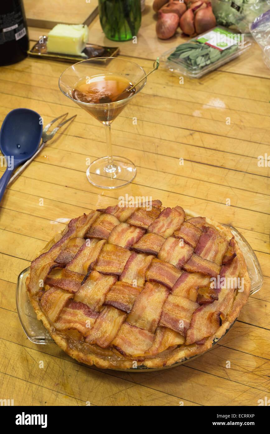 Bacon encabezó la tarta de manzana. Imagen De Stock