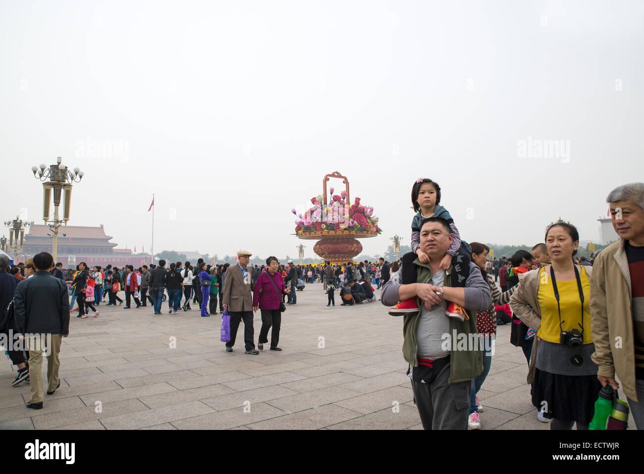 Durante el feriado en la plaza de Tiananmen, Pekín, China Foto de stock