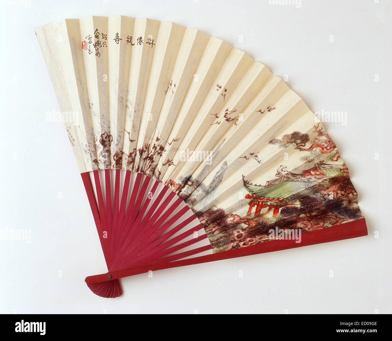 Abanico pintado de China, Shanghai, República Popular de China Imagen De Stock
