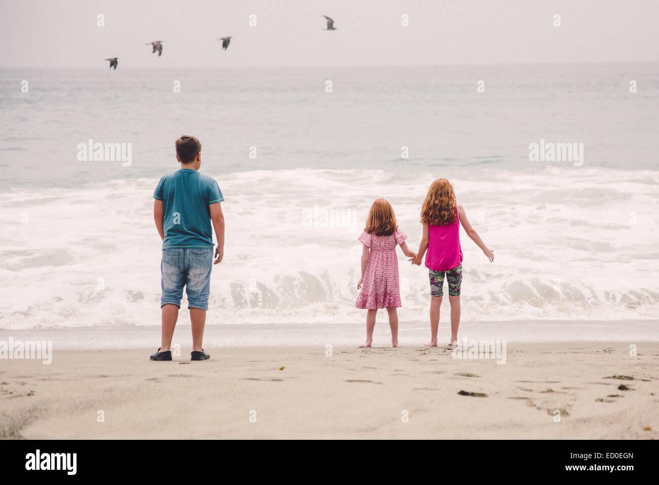 Ee.Uu., California, Los Ángeles, Niños (6-7, 8-9, 12-13), viendo las olas rompiendo en la playa Imagen De Stock