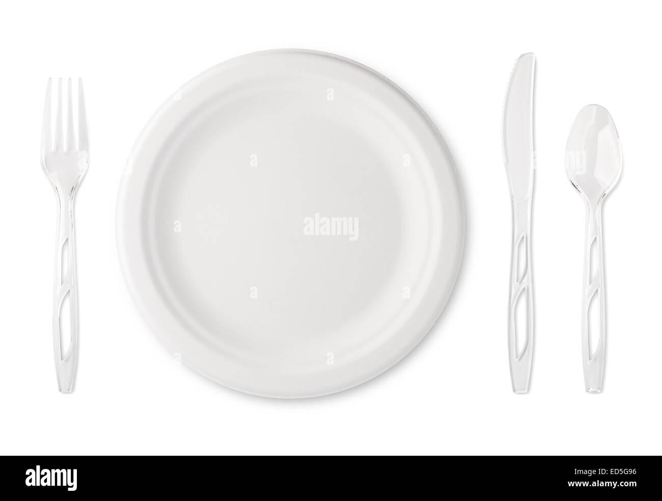 Plato de papel y utensilios de plástico transparente Imagen De Stock