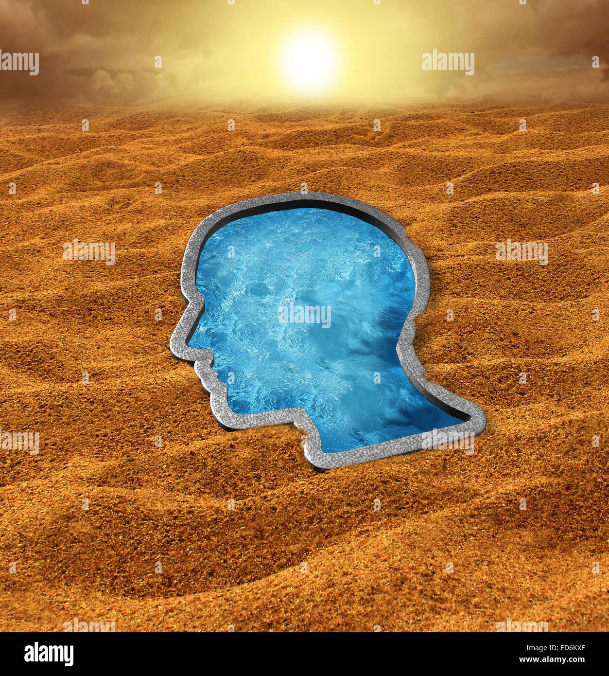 La esperanza humana concepto como un desierto seco y caliente con una refrescante piscina oasis formado como un Imagen De Stock