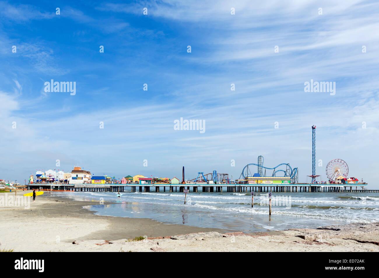 Galveston Island, el histórico muelle de placer, la Costa del Golfo, Galveston, Texas, EE.UU. Imagen De Stock
