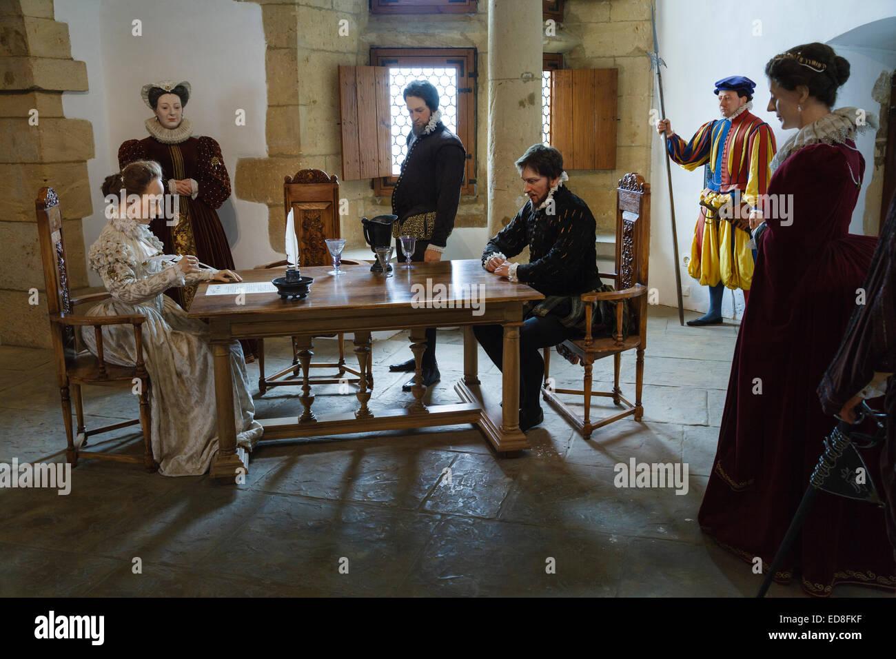 Mostrar en el interior del castillo de Sedan representando el matrimonio de Charlotte de la Marck a Henri de la Imagen De Stock