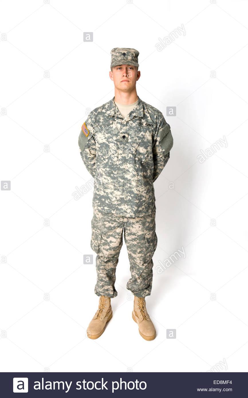 Joven vistiendo uniforme de Infantería del Ejército de EE.UU. Ver imagen EDMF, EDMF EDMF986, o para otros Imagen De Stock