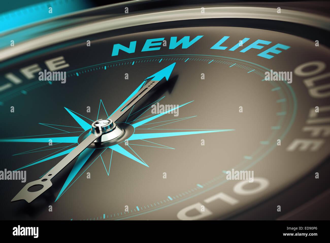Con la aguja de la brújula apuntando la palabra nueva vida, concepto imagen para ilustrar el concepto de motivación Imagen De Stock