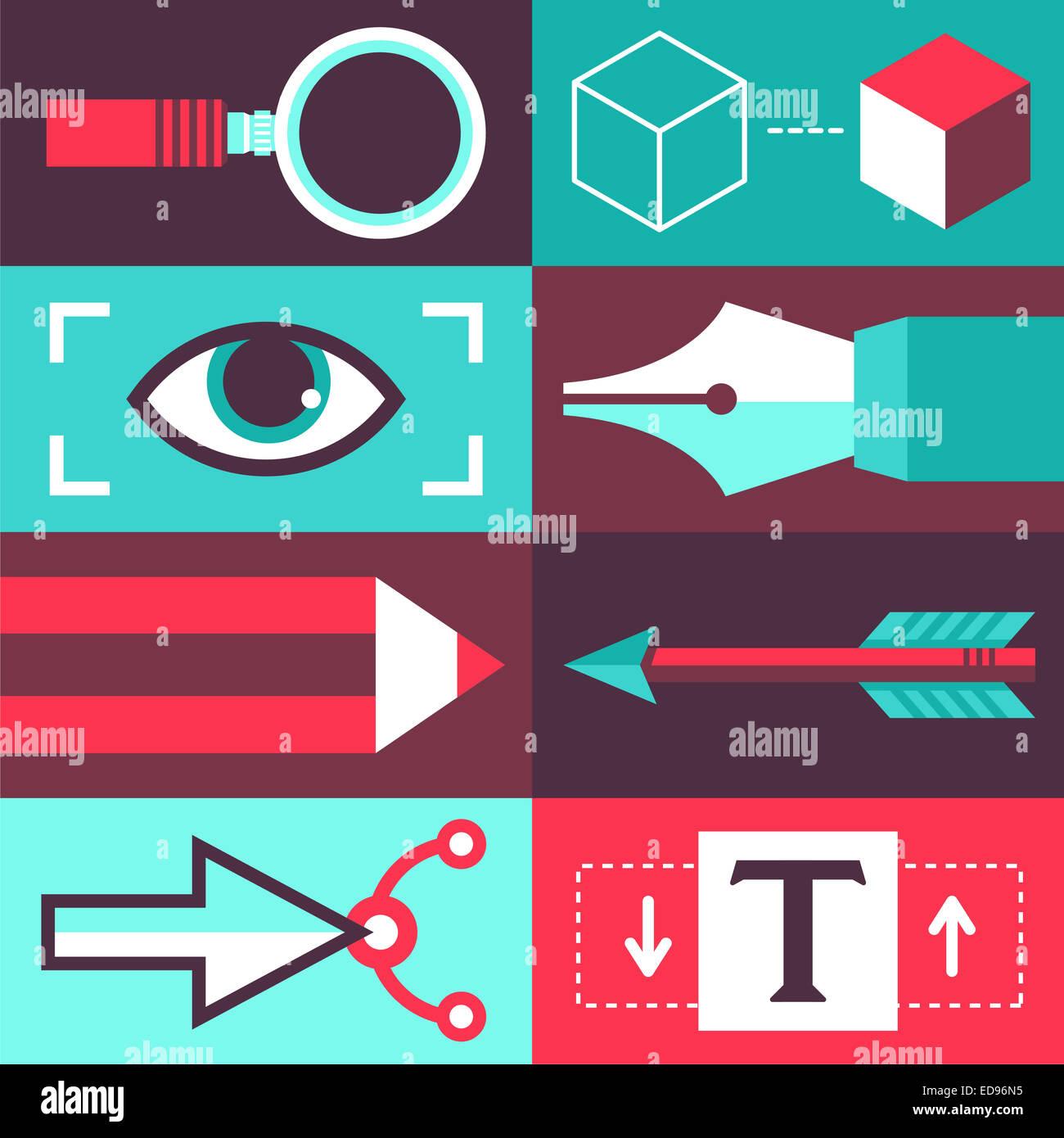 Concepto de diseño gráfico en estilo plano - Iconos y firmar con las herramientas del diseñador Imagen De Stock