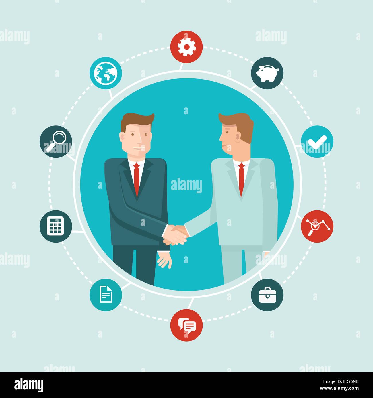 El trabajo en equipo y la cooperación concepto en estilo plano - parejas masculinas se estrechan las manos Imagen De Stock