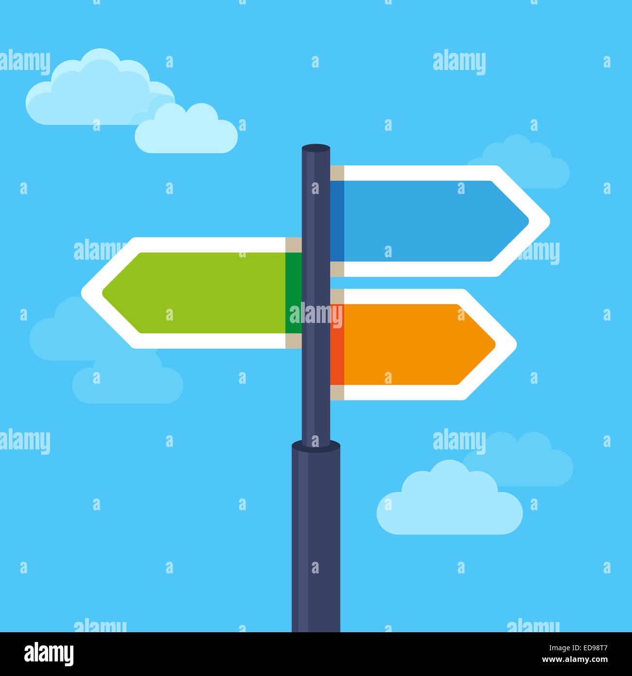 Vector abstracto concepto de estrategia en estilo plano - señales de carretera con diferentes flechas Imagen De Stock