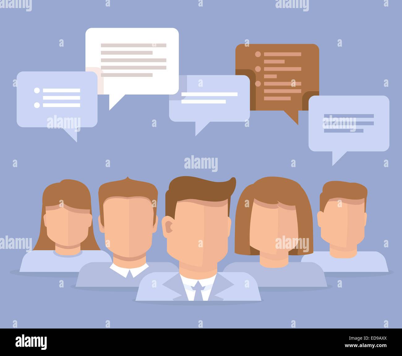Concepto plana - el trabajo en equipo y la reflexión - Iconos de negocios Imagen De Stock