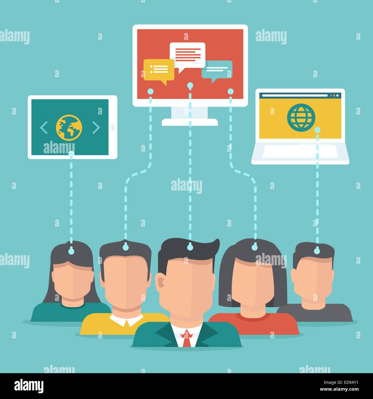 Contenido generado por el usuario en concepto de estilo plana - usuarios cargar contenido digital Imagen De Stock