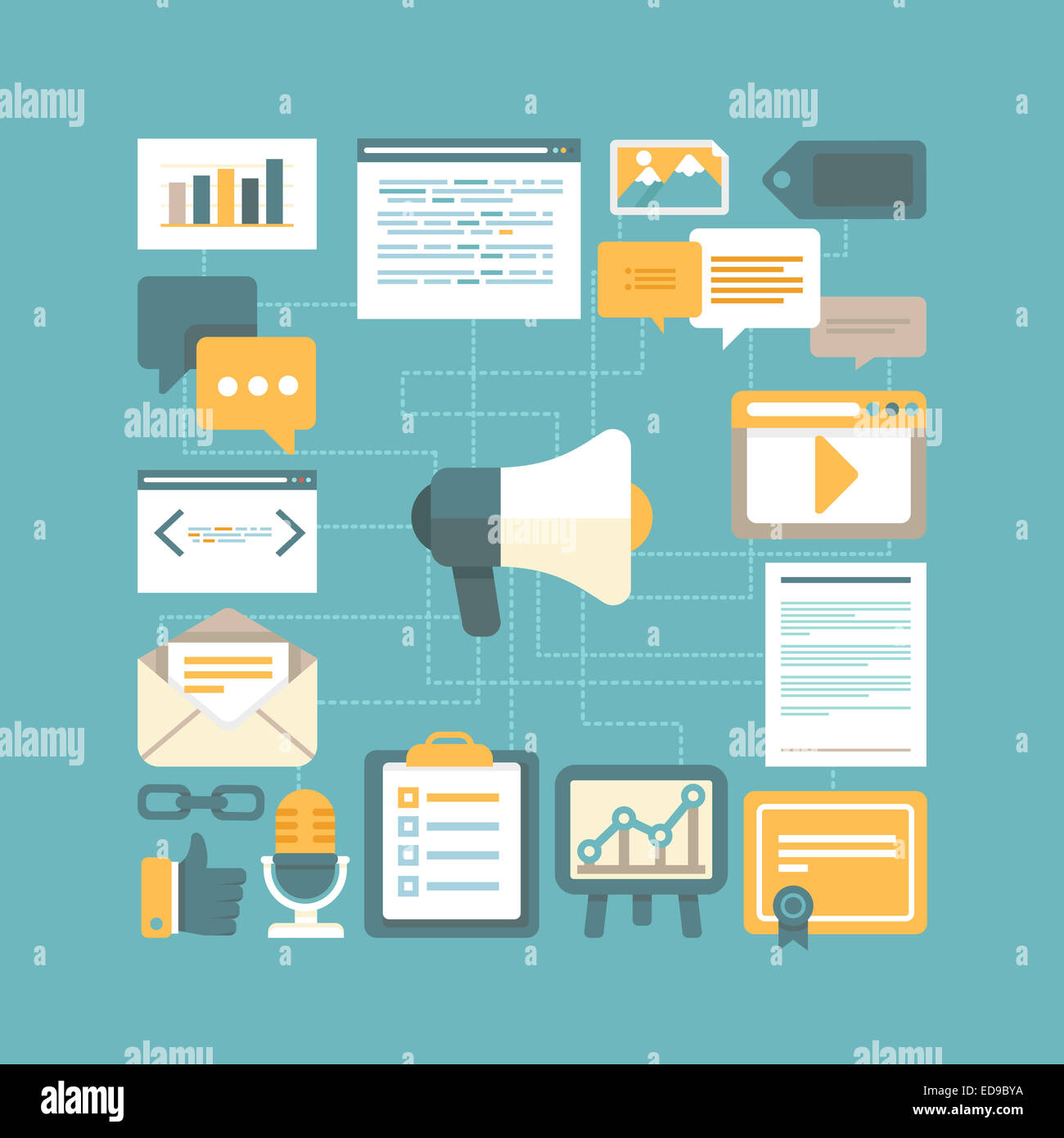 Concepto de marketing de contenidos en estilo plano - Trabajar con contenido digital y publicidad Imagen De Stock