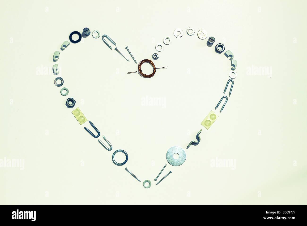 Forma corazón formado con hardware Imagen De Stock