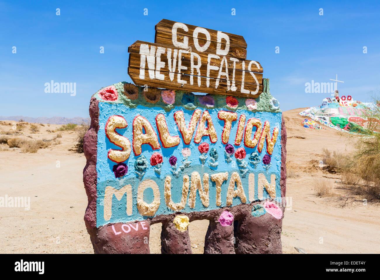 La salvación Montaña, Leonard Knight's a gran escala de la pieza de arte popular religioso, Niland, Imagen De Stock