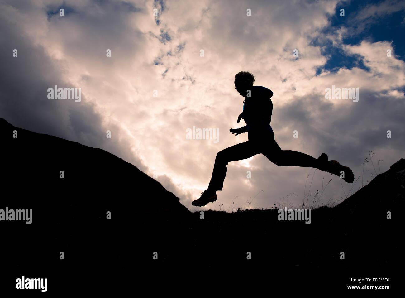 Trail Running, Furka, Suiza Imagen De Stock
