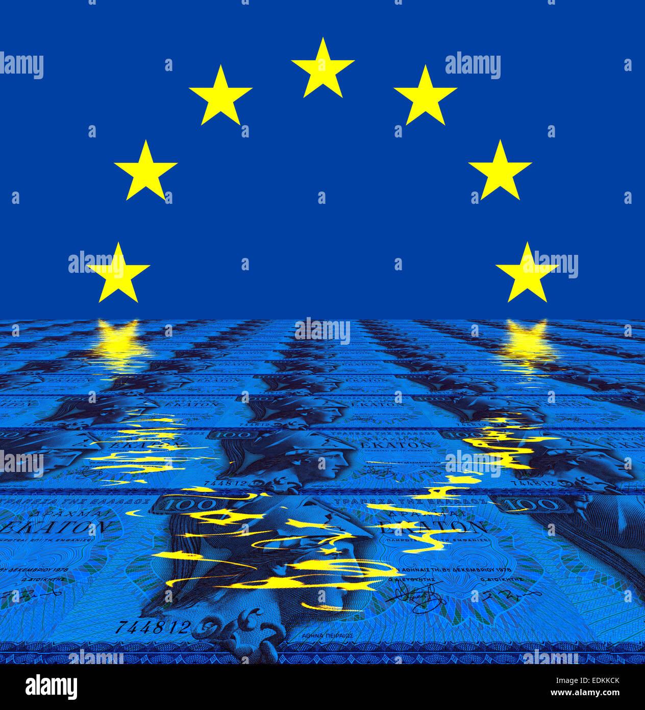 Desde Grecia, billetes de 100 dracmas desde 1978 con la UE de signo, imagen simbólica Foto de stock