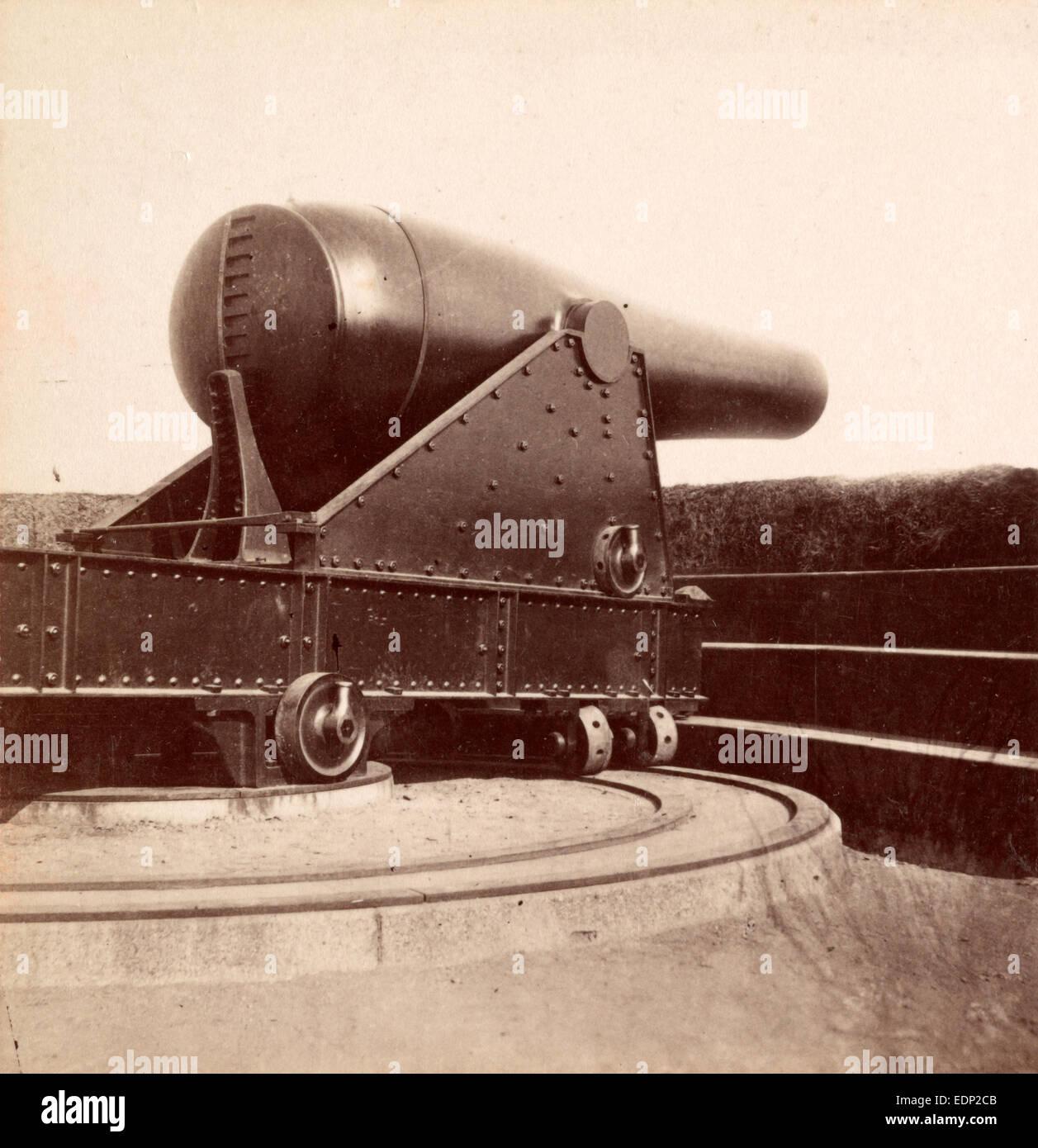 Pistola de 15 pulgadas en la batería Rodgers en el Potomac, EE.UU., US, Vintage photography Imagen De Stock