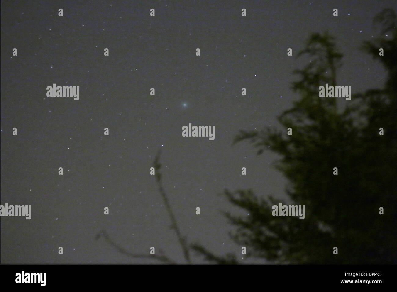 Cometa Lovejoy (2014 Q2) fotografiado el 8 de enero de 2015 desde Flackwell Heath, Bucks. La cometa es la mancha Imagen De Stock